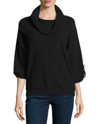 Neiman Marcus Cashmere Cowl Neck Tab Sleeve Pullover Black