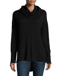 Neiman Marcus Oversized Cowl Neck High Low Sweater Black