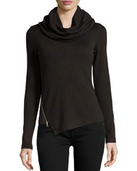 P Luca Cowl Neck Sweater Wzip Detail Blackcharcoal