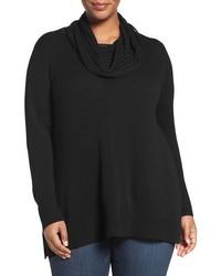 Sejour Plus Size Wool Cashmere Cowl Neck Sweater
