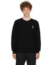 Alexander McQueen Black Cashmere Beaded Skull Sweater