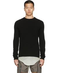 Rick Owens Black Cashmere Biker Crewneck Sweater