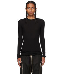 Rick Owens Black Cashmere Ribbed Sweater