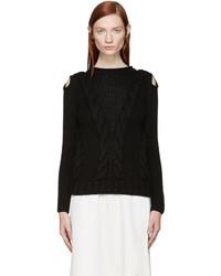 Alexander McQueen Black Cut Out Shoulder Knit Sweater