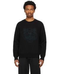 Kenzo Black Needlepunch Tiger Head Sweater