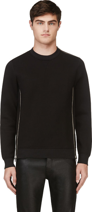 Diesel Black Gold Black Neoprene Zipped Sopette Sweatshirt | Where ...