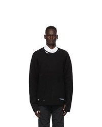 A-Cold-Wall* Black Oversized Destroyed Crewneck Sweater
