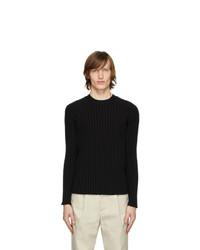 Deveaux New York Black Ribbed Crewneck Sweater