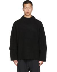 JERIH Black Round Neck Sweater