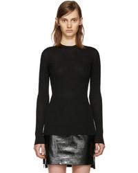 Versace Black Wool Ribbed Sweater