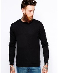 Asos Brand Crew Neck Sweater In Black Cotton