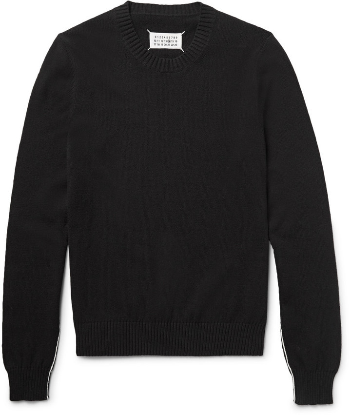 Maison Margiela Contrast Trimmed Cotton Sweater | Where to buy ...