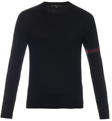 521649bacdd12e ... Gucci Crew Neck Wool Knit Sweater ...