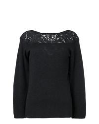 Agnona Guipure Inset Slash Neck Sweater