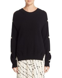 Helmut Lang Button Sleeve Cotton Cashmere Sweater