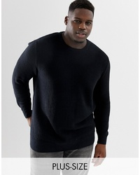 Tom Tailor Plus 100% Cotton Knitted Texture Jumper In Black