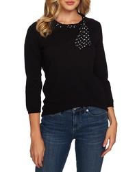 CeCe Polka Dot Scarf Detail Cotton Sweater
