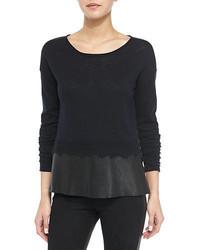 Andrew Marc Slubby Cotton Leather Trim Sweater