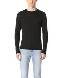 Vince Sweater Trim Long Sleeve Crew Neck Tee