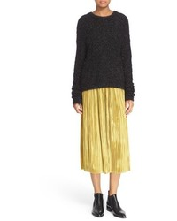 Tibi Gleam Shimmer Knit Crewneck Sweater