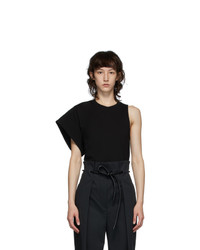 3.1 Phillip Lim Black Asymmetric Sleeve T Shirt