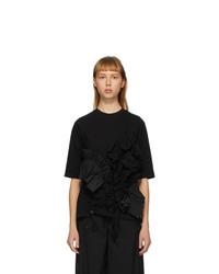 Enfold Black Soft Decorative Pleated T Shirt