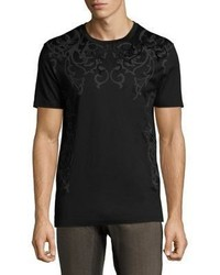 Versace Collection Flocked Baroque Cotton T Shirt