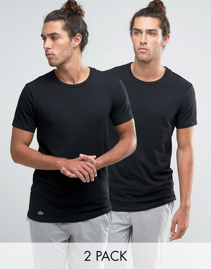 9ba823aa6c87 ... Lacoste Crew Neck T Shirt In 2 Pack In Black Slim Fit ...