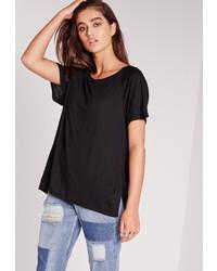 Missguided Crew Neck Raglan Split Side T Shirt Black