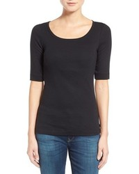 Petite Caslon Ballet Neck Cotton Modal Knit Elbow Sleeve Tee