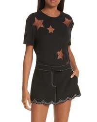 RED Valentino Point Desprit Star Cutout Tee