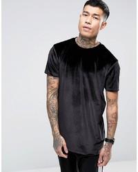 ASOS DESIGN Relaxed Longline T Shirt In Velour In Black