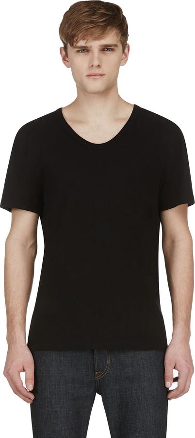 1142e11783cd73 Alexander Wang T By Black Classic Scoopneck T Shirt, $80 | SSENSE |  Lookastic.com
