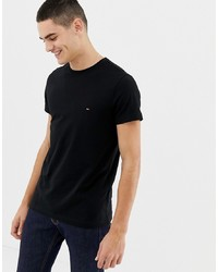 Tommy Hilfiger T Shirt With Flag Logo In Stretch Slim Fit In Black