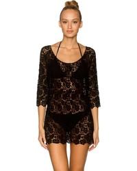Lavish Swimwear Black Crochet 804 Crochet Dress Cover Up