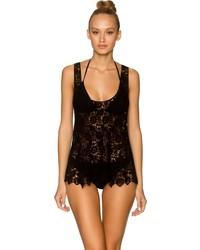 Lavish Swimwear Black Crochet 855 Crochet Top Cover Up