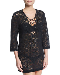 Miguelina Serena Crocheted Lace Coverup Dress