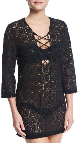 390 Miguelina Serena Crocheted Lace Coverup Dress