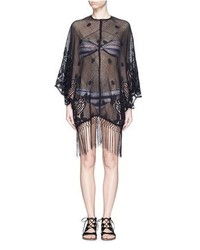 Miguelina Vonna Fringe Scalloped Cotton Crochet Lace Cover Up