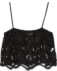 Miguelina Chandler Cropped Crochet Knit Cotton Top