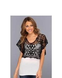 Roper 8747 Black Crochet Crop Top Clothing