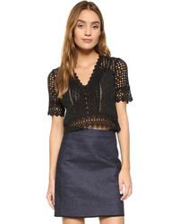 Rebecca Taylor Short Sleeve Lace Crochet Blouse