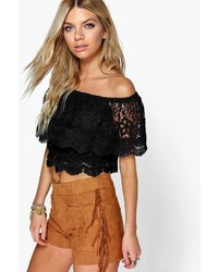 Boohoo Tia Crochet Lace Frill Off The Shoulder Top
