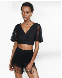 Tie back crochet cropped v neck top medium 745474