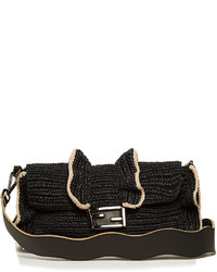 Fendi Baguette Wave Raffia Cross Body Bag