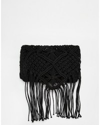 South Beach Crochet Crossbody Bag With Tassles