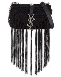 Saint Laurent Monogram Baby Chain Serpent Crochet Crossbody Bag Black