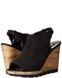 Black Crochet Heeled Sandals