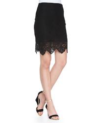 For Love & Lemons Crocheted Lace Mini Skirt Black