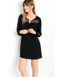 Black Crochet Lace Inset Shift Dress